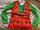 Faux Real Adult Ugly Christmas Vest T-Shirt Holiday Sweater M Medium SHIPS FAST