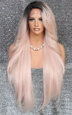 Extra Long Human Hair blend Heat OK Full Lace Front Wig Pink WBPC1B-Rose Gold