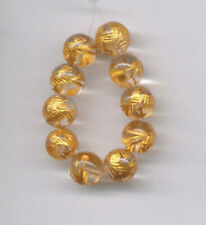 TEN (10) CARVED 10 KT. GOLD PLATED CRYSTAL QUARTZ 8MM DRAGON BEADS - 0379