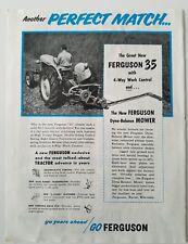 1955  Ferguson 35 tractor 4-way work control mower farming ad
