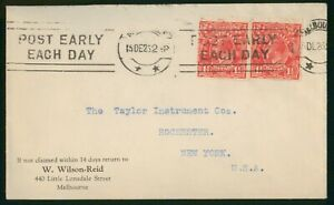 Mayfairstamps Australia 1952 Melbourne to Taylor Instrument Rochester NY Cover w