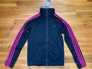 Women's Adidas 3 Stripe Full Zip Up Track Jacket Small S Black Pink Athletic NWT