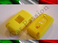 GUSCIO CHIAVE COVER PEUGEOT SILICONE 407 408 307 308 107 207 giallo 3 TASTI