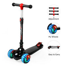 Kids Kick Scooter Deluxe for Toddler Adjustable Girls Boys Cool Toy 3 Led Wheels