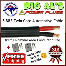 12 Metre 8 B&S Twin Core Automotive Auto Cable + 2 GRY Anderson Style DC Plugs