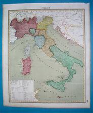 1850 ORIGINAL MAP ITALY SICILY LOMBARDY TUSCANY CAMPANIA PIEDMONT LAZIO VENETO