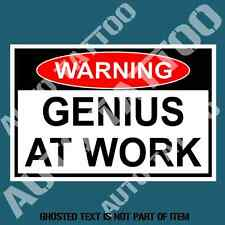 GENIUS AT WORK WARNING DECAL STICKER FUNNY NOVELTY SAFETY DECALS STICKERS