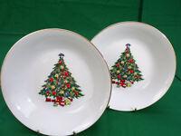 "2 Jamestown China Fine Porcelain Bowls Christmas Tree Soup Salad Veggie 7-1/2"""