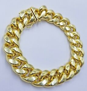 """Real 10k Gold Mens Bracelet Miami Cuban Link 9"""" 15mm Box clasp Thick Strong 10kt"""