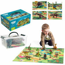 More details for realistic dinosaur toys figures playset with play mat & trees educational set uk
