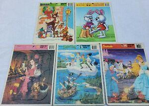 Vintage Lot of 5 Golden Frame Tray Puzzles Walt Disney Cinderella Peter Pan PLUS