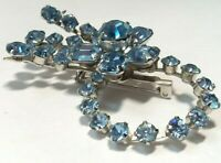 VINTAGE 40's 50's CORO Blue RHINESTONE PIN BROOCH Flower Spray CIRCLE Prong Set