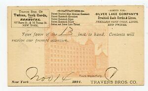 ILLUSTRATED UX 1891 POSTAL CARD TRAVERS BROS. HAMMOCKS, TWINES, ROPES, & CORDS