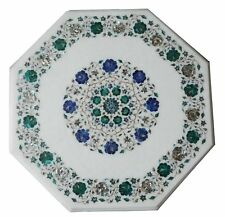 "23"" Marble coffee Table Top Semi Precious Stones art Inlay room decor"