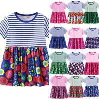 Infant Kid Baby Girl Summer Floral Cartoon Print Princess Striped Dress Sundress