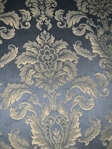 """GORGEOUS CUSTOM DAMASK DOUBLE LINED DRAPES~COLEFAX&FOWLER~BLUE89""""LONG"""