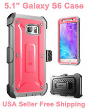 New SUPCASE For Galaxy S6 Full Body Rugged Holster Case & Screen Protector Pink