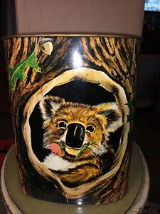 VINTAGE JL CLARK Embossed Tin Koala BEAR Trash Garbage Can