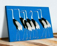BLUE CANVAS WALL ART PRINT PICTURE ARTWORK ORIENTAL CRANES  HAPPINESS JAPANESE