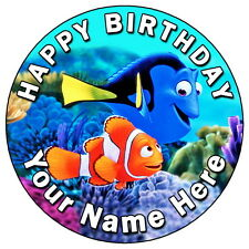 """FINDING DORY NEMO FUN PARTY - 7.5"""" PERSONALISED ROUND EDIBLE ICING CAKE TOPPER"""