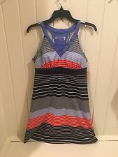 NWT Womens ZEROXPOSUR Striped Navy Orange Lifestyle Outdoor Dress Cover Up Small