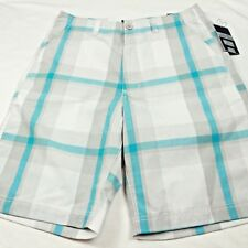 NEW Champs Nuclear Street Shorts Men's Size 32 Cotton Plaid Blue Gray NWT