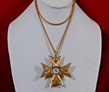 VTG. MALTESE CROSS LUCERNE SWISS MADE ANTI MAGNETIC GT WATCH NECKLACE KEEPS TIME