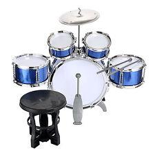 Kids Rock Drum Kit Childrens Cymbal Music Percussion Playset Stool Toy & Sticks