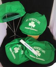 Saint Patricks Patty Day Parade Marshal Hats lot of 4 Green Newboy Caps NOS  R1