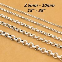 925 Sterling Silver Rolo Rollo Chain Necklace Belcher Chain 4mm 5mm 6mm 8mm 10mm