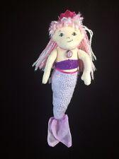 "Douglas  Mermaid Purple Pink Sparkle Plush Soft Toy Crown 11"" Stuffed"