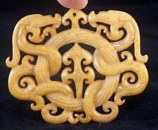 Antiguo Chino Antiguo Tallado a Mano Oriental Amuleto Colgante piedra jade budista Miao