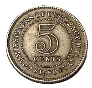 Malaya 5 Cents 1950 Copper-Nickel KM# 7 King George the Sixth