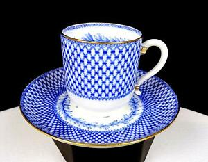 """MINTONS ENGLAND MONTREAL BLUE LATTICE FLORAL 2 1/2"""" CUP AND SAUCER 1873-1891"""