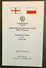 More details for man utd v lks Łódź 1999 champions league special menu manchester united treble
