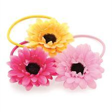 Ragazze 3pz Set di 5 CM fiore ELASTICI GIALLO ROSA E FUCSIA PER CAPELLI SOTTILI bande