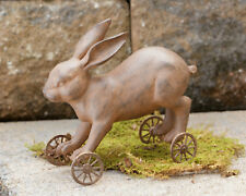 Country new small rustic rolling Bunny on wheels / nice spring decor