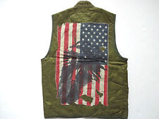 New Ralph Lauren Denim and Supply Army Green Quilted Indian Flag Print Vest S