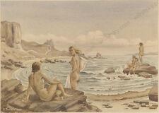 "Wolfgang Taubert (b.1905) ""Beauty Bathers"", Watercolor, 1944"