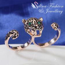 18K Rose Gold Plated  Fashion Two Finger Wear Adjustable Leopard Ring