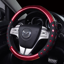 38 cm Non-slip Handle Steering Wheel Cases Leather Car Steering Wheel Cover-Red