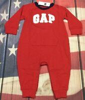Baby Gap Boys 6-12 Months Red GAP Logo 1-piece Jumpsuit / Romper. Nwt
