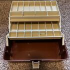 Vintage Plano brown tan tackle box made in USA 2 tier