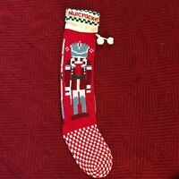 Vintage Extra Long Knit Nutcracker Toy Soldier Christmas Stocking Red Pom