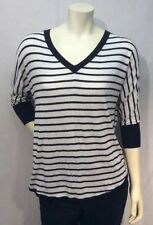 M V-Neck Striped Regular Size Sweaters for Women