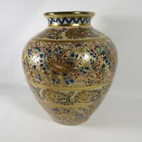 Moriage Vase Urn Style Paisley Floral Colorful Gold Asian #13 Raised Enamel 9""