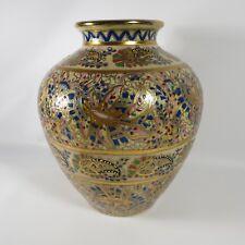 "Moriage Vase Urn Style Paisley Floral Colorful Gold Asian #13 Raised Enamel 9"""