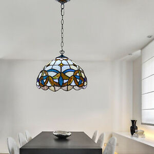 Antique Handcrafted Tiffany Style Pendant Lamp Stained Glass Multicolored Shade