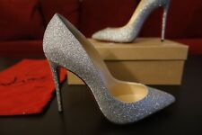 Christian Louboutin Pigalle Follies 100 Glittered Silver Wedding Shoes Pumps 38