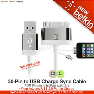iPhone 4/4s iPad 1 2 3 & 4 30-Pin to USB Charge Sync Cable Belkin F8J041cw2m-WHT